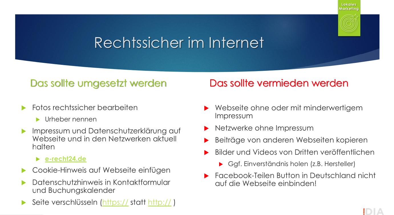 Facebook Internet dos and donts DSGVO Datenschutz